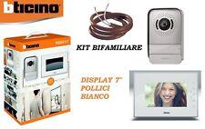 """VIDEOCITOFONO BTICINO MONO/BIFAMILIARE 317014 KIT A COLORI 7"""" BIANCO 2 FILI"""