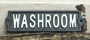 Rustic Cast Iron Washroom Sign Gas Station Bar Pub Bathroom Plaque Wall Decor