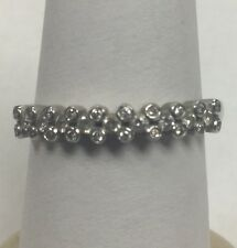 Stunning 14Kt White Gold Diamond Band Ring Size 8