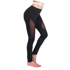 Women Fashion Stretchy Sheer Sports Yoga Tights High Waist Cropped Fitness Pants