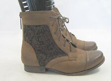 """Brown 1"""" Block Heel Round Toe Sexy Lace Up Ankle Boots Size 11"""