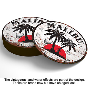 MALIBU WOOD COASTERS Beer Mats Man Cave Shed Home Garage Kitchen Gift Signs UK
