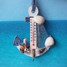 Anchor Shaped Wall Hook Wood Door Hanger Nautical Conch Thermometer Decor