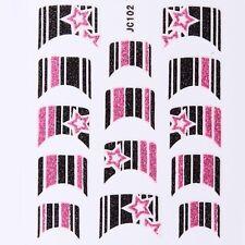 Nail Art Decal Stickers Glitter Nail Tips Pink Black Stars Stripes JC102
