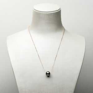 Lustrous Round Natural Black Genuine Tahitian Pearl Necklace 18k Solid Rose Gold