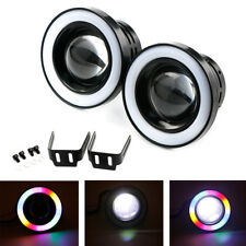 "Multi-Color RGB 3"" Projector LED Fog Light Lamp DRL w/ COB Halo Angel Eyes Rings"