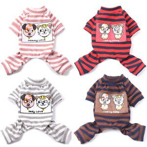 Small Pet Dog Jumpsuit Pajamas Clothes Cartoon Striped Puppy Cat Coat Homewear
