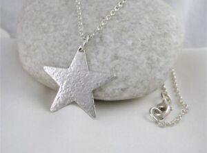 "Sterling Silver Sparkly Hammered 25mm Star Pendant Necklace 17""-26"" Handmade UK"