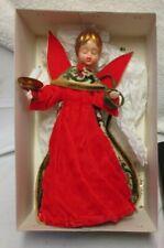 """Vintage Koestel West Germany Christmas Red Velvet Robe Wax Angel German 13"""""""