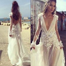 Romantic Flower Applique Wedding Dress Beaded Backless Sheer Bridal Gown 6 8 10+