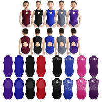 Girls Leotard Dance Wear Gymnastics Ballet Sleeveless Leotards Mock Neck Costume