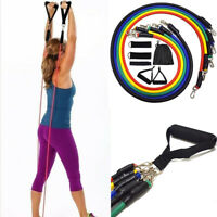 Resistance Band Tube Bands Yoga Pilates Abs Exercise Set Fitness Workout 11 PCS