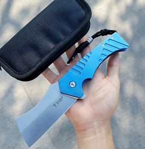 Wharncliffe Folding Knife Pocket Flipper Hunting Survival Wild High Carbon Steel