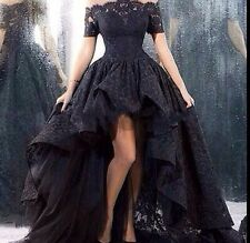 Short Sleeve Black Hi-Lo Cocktail Prom Formal Evening Gowns Lace Pageant Dresses