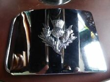 Gürtelschnalle Buckle Schottland Kilt keltisch Keltik Piper Distel silber NEU
