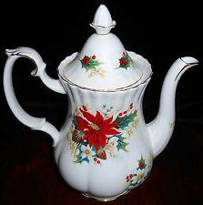 ROYAL ALBERT Bone China POINSETTIA PATTERN Coffee Pot w/Lid ENGLAND