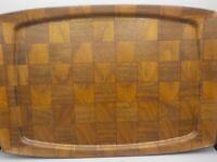 "Vintage Weavewood Danish Modern Walnut Wood 19"" Serving Tray Platter Exc!"