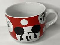 Walt Disney Mickey Mouse Coffee Mug / Soup Bowl Red w/Polka Dots 16oz.