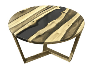 Coffee Table From Walnut And Black Epoxy Resin Round Natural Pattern