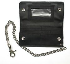 Credit Card Biker Wallet with Chain - Black Oil Tanned Leather
