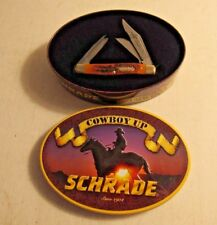 Schrade Cowboy Up Pocket Knife w Cowboy Wisdom Tin Case Triple Blade Folder