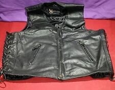 XElement Black Leather Motorcycle Vest with Zipper Pockets size Large