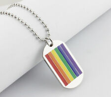Unisex Gay Pride Rainbow Dog Tag Pendant Necklace - Brand New