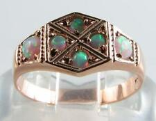 CLASSIC 9K 9CT ROSE GOLD ENGLISH MADE HEXAGON AU OPAL RING *FREE RESIZE*