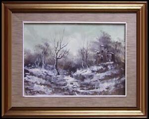 grazioso paesaggio invernale di collina boscaglia e rudere innevati olio tela