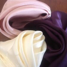 "SET OF 3 ASSORTED  COLORS 16""x16"" (40cm x 40cm) ALL SILK POCKET SQUARES; NEW"