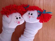 Set of 2 Sock Puppets red yarn hair boy & red yarn braids girl VBS classroom fun