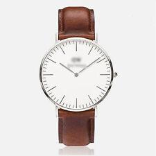 Ladies Fashion Silver Quartz White Faced Brown Band Wrist Watch(Aussie Seller)