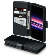 Real Leather Wallet Case for Sony Xperia 5 - Black