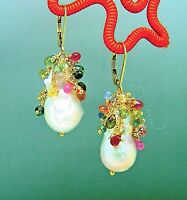 14k Gold GF Baroque Keshi Pearl Multi Sapphire Briolette Gemstone Earrings