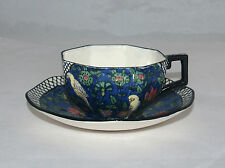 ART DECO ROYAL DOULTON BIRDS BLUE CHINTZ PERSIAN PARROTS D4031 CUP AND SAUCER