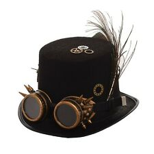 BLESSUME Black Steampunk Hat with Goggles Unisex Fancy Dress Top Hat M Color a