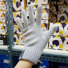 Adidas Performance Knit Gloves Fleece Gray Running Sports GYM Touch Glove AB0346