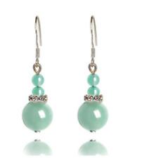 Womens Natural Stone Opal Turquoise Agate Jade Hook Drop Dangle Earrings