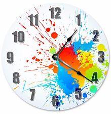 "SPLATTER PAINT CLOCK - Large 10.5"" Wall Clock - 2188"