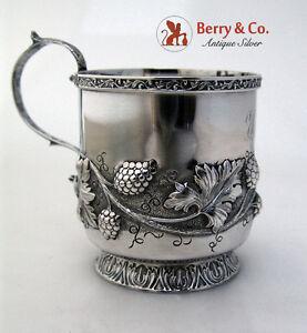 Raspberry Repousse Cup R W Wilson Coin Silver 1835 Monogram EL