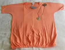 Chico's Women's Saturday's Shine AZO Orange Top/Shirt Size 0 FREE Necklace