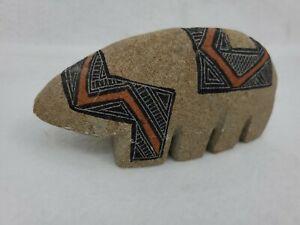 "Vintage Hopi Native American Carved Painted Stone 8"" Signed Artist Beem '98 1998"