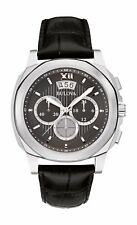 Bulova Men's 96B218 Quartz Chronograph Gray Dial Black Leather Band 43mm Watch