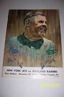1969 NEW YORK Jets OAKLAND RAIDERS Program JOE NAMATH Ewbank MAYNARD Boozer AFL