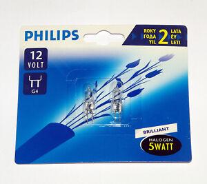 2x Philips G4 12V 5W Halogen Capsule Lamp Light Bulb 2700K Dimmable Röhre 2000h