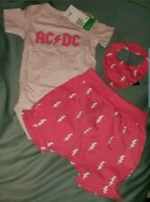 NWT H&M Baby Girl Size 12-18M Pink AC/DC Set Outfit One Piece Shorts Scarf