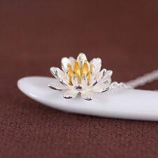 fashion women lotus flower charm Pendant 925 sterling silver Necklace set TB182