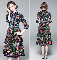 elegant womens fashion temperament lace up bowknot printing A-line Dress new