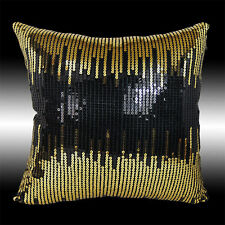 """ABSTRACT GOLD BLACK SEQUINS DECO THROW PILLOW CASE CUSHION COVER 16"""""""