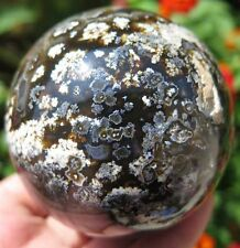 15.6OZ Rare Natural Black Agate Crystal Sphere Ball